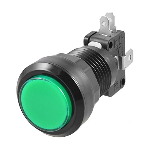 TOOGOO(R) Green LED Lamp 24mm Dia Round Push Button w Limit Switch for Arcade Video - Contact Numbers Edgars