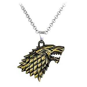 ocarly dire wolf logo necklace direwolf pendant winter is