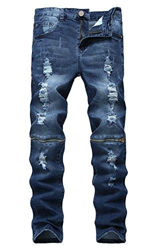 Upreface Men's Slim Fit Zipper Ripped Holes Destroyed Skinny Jeans, Denim Blue , - Blue Denims