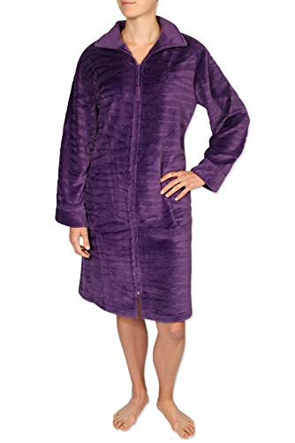 Miss Elaine Women's Short Robe - Brushed Fleece Material. with Long Sleeves and a Zipper Front - Miss Elaine Short
