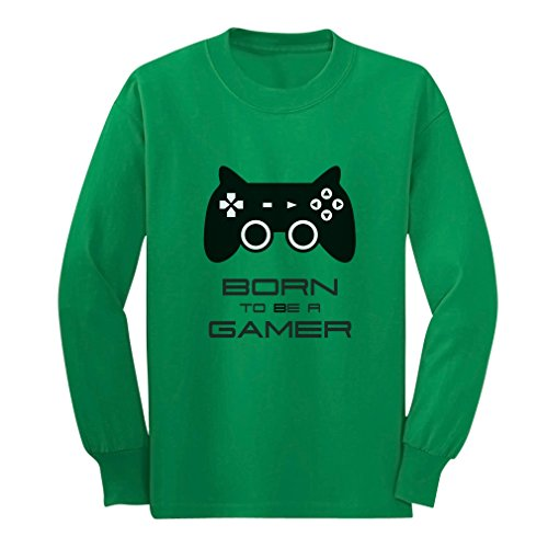 Price comparison product image Born To Be a Gamer Cute Children Future Gamer Funny Long sleeve kids T-Shirt X-Large Green