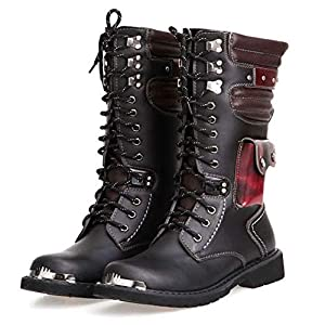 NSST Mens Martin Boot British Fashion Genuine Leather Waterproof High Boot Army Gothic Motorcycle Steampunk Shoes Motorcycle Western Cowboy Boots Uniform Boots