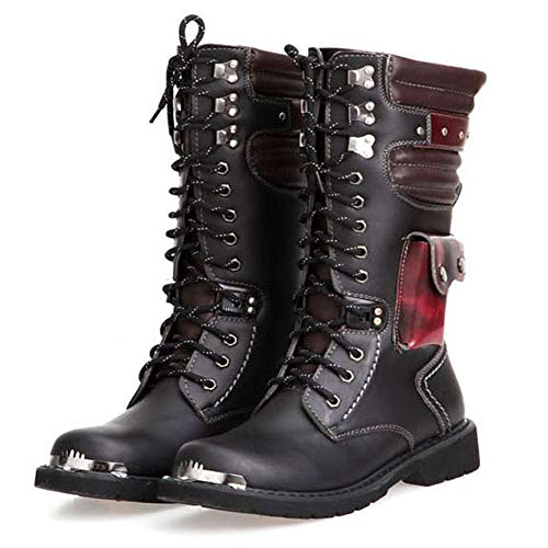 NSST Mens Martin Boot British Fashion Genuine Leather Waterproof High Boot Army Gothic Motorcycle Steampunk Shoes Motorcycle Western Cowboy Boots Uniform Boots,43