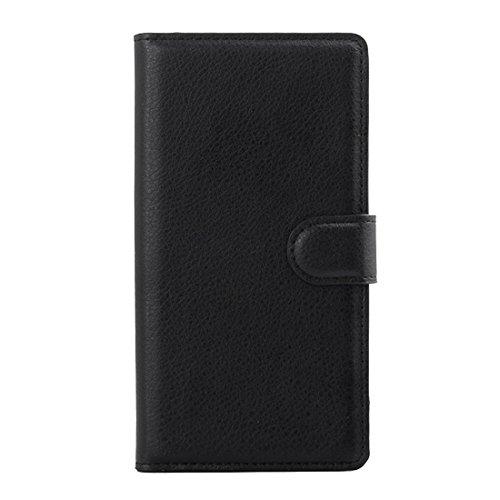 Beautiful & practical Para Sony Xperia Z3 / L55U / L55T Litchi Textura horizontal Flip caja de cuero con el titular y ranuras para tarjetas y cartera ( Color : White ) Black