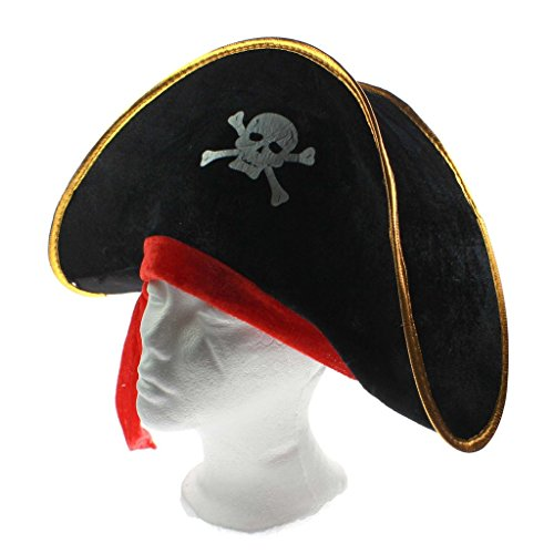 MMRM Skull Print Pirate Captain Costume Cap Halloween Masquerade Party Cosplay Hat Prop