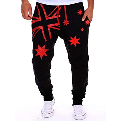 Premium Motocross Pants - Sunyastor Mens Jogger Sport Pants Loose Printed Sweatpants Casual Athletic Trousers Trousers Joggers Pants for Gym Running Red