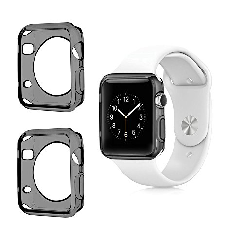 Apple Watch Color TPU W/ Built in Corner & Edge Protection SERIES 1, 2 & 3 LTE / GPS Bumper Smooth Slim Skin [iWatch Gel Cover] Protective Case Shockproof Clear Protection Accessories (2x Gray, 42mm)