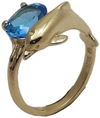 Dolphin ring with a Swiss blue topaz gem