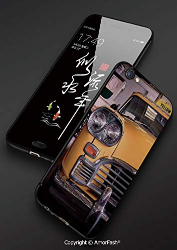 iPhone 8 Case,Non-Slip Liquid Silicone Gel Rubber Bumper Case Cushion Hard Shell Shockproof Full-Body Protective Case for iPhone 7/8,NYC Decor,Picture of Antique Yellow Taxi Historical Element of - Nyc Antique