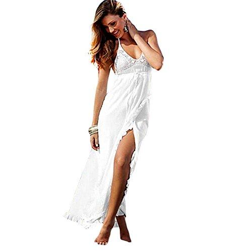 TrendsGal Women's Casual Spaghetti Strap Backless High Split Maxi Dress(M)