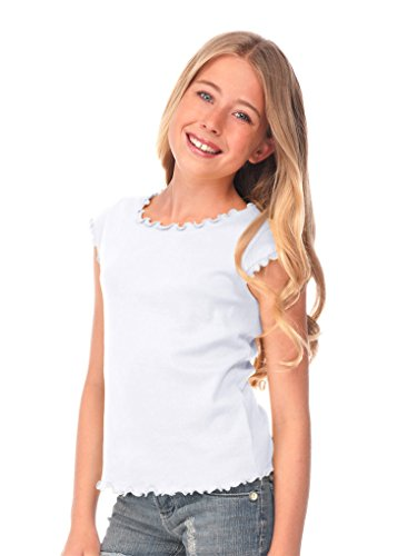Lettuce Edge Shirt - Kavio! Big Girls 7-16 Lettuce Edge Scoop Neck Cap Sleeve Top White XL