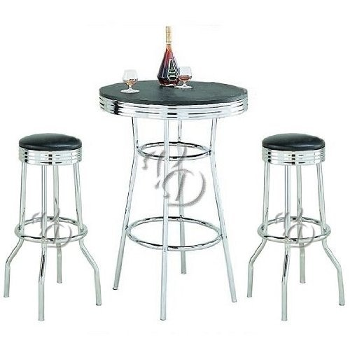 Retro 3-Piece Chrome Bar Stools and Table Set (Dinette Sets Retro)