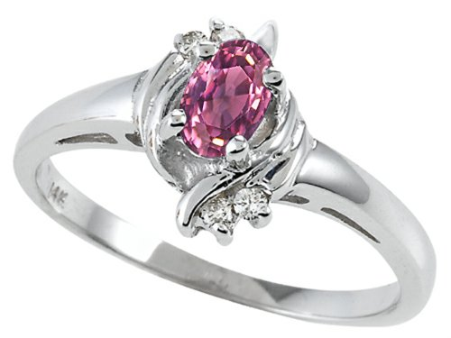 Tommaso Design Oval 5x3 mm Genuine Pink Tourmaline Ring 14 kt White Gold Size 9