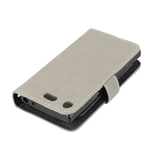 Funda Sony Xperia XZ 1, Ecoway [9 ranuras para tarjetas]Serie retro Cuero de la Scrub PU Leather Cubierta, Función de Soporte Billetera con Tapa para Tarjetas Soporte para Teléfono para Sony Xperia XZ gris