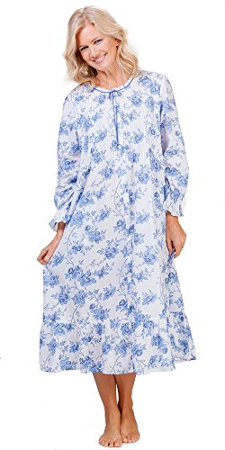 Cotton La Cera Robe - Long Button-Front Robe In Moonstone Roses (Small (6-8), White/Blue)