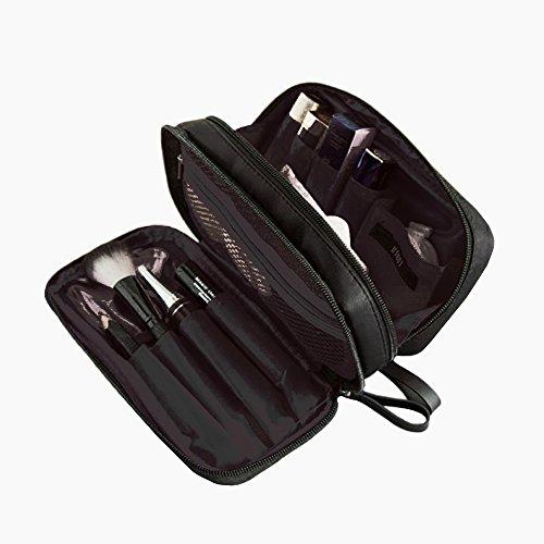 Zhenxinmei Double Layer Cosmetic Bag, Nylon Waterproof Trave
