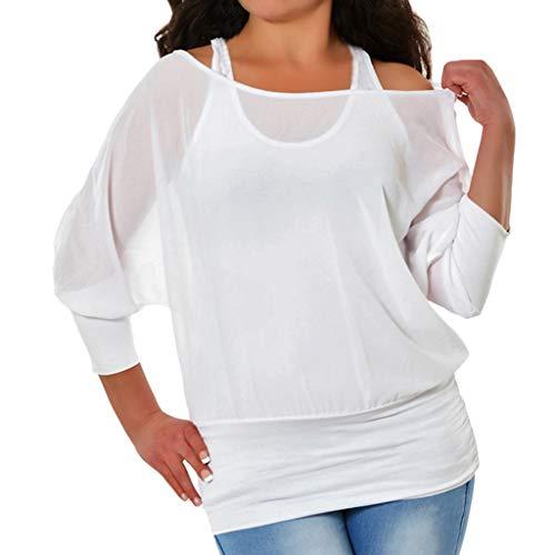 (Shusuen Women's Batwing Sleeves Blouse Kimono Tunic Loose Fitting Shirts White)