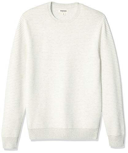 Goodthreads Men's Soft Cotton Ottoman Stitch Crewneck Sweater, Light Grey Heather Large ()