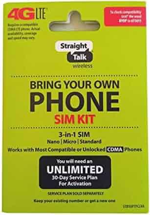Straight Talk Verizon 4G LTE 3G CDMA Bring Your Own Phone Activation Kit