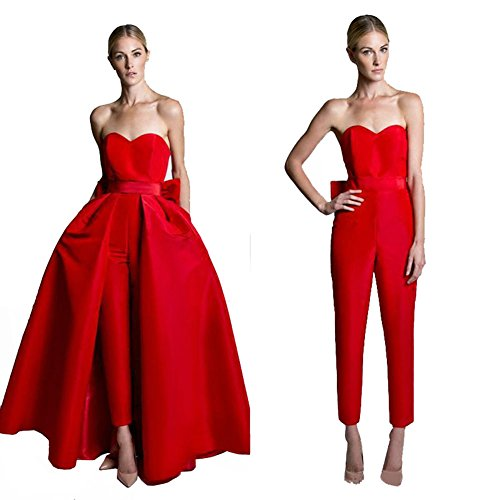 VeraQueen Women's Sweetheart Jumpsuits Evening Dresses with Detachable Skirt Prom Gowns Pants Red