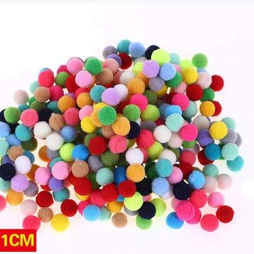 Creative 100pcs 5 Size Soft Mix Color Pompom Fluffy Plush Cloth Craft DIY Soft Ball Fur Ball Home Decor - Ornamental vases & Artificial Flowers Vase Fillers - (1cm) - 1 x 100 pcs per lot ()