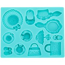 Fingertip WD Silicone Cake Molds DIY Chocolate Candy Moulds Non-Stick Baking Trays Pan Kitchen Tools Handmade for Cupcake Muffin Ice Cube Jelly Soap Wax Making Crafting (Straw Hat & Makeup Bag)