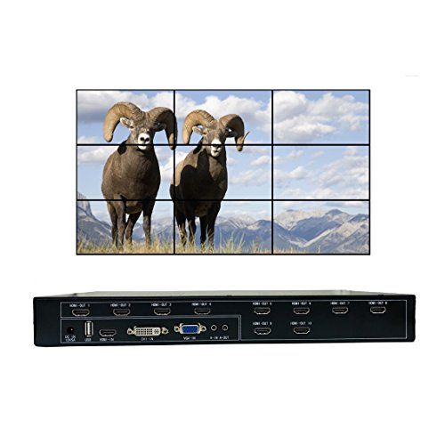 - ISEEVY Video Wall Controller 3x3 2x5 2x4 Video Wall Processor Support HDMI DVI VGA USB inputs for 9 TV Splicing