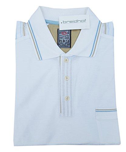 breidhof - modisches, weißes Poloshirt mit Knöpfen und blau-grauen Streifen - Übergrößen von 60 bis 70