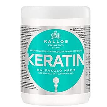 Kallos Kjmn Maska Do Włosów Z Keratyną Ułatwiająca Prostowanie Keratin 1000 Ml (Zielona) 1000 ml