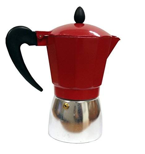 - IMUSA USA B120-43T Aluminum Stovetop Coffeemaker 6-Cup, Red Top