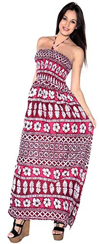 LA LEELA Soft  Printed Maxi Beach Cruise Tube Halter  Bright Red 416 One Size