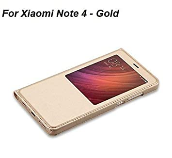 best service 5793c 27c62 Lemcas S-View Premium Smart Leather Flip Cover For Xiaomi Redmi Note 4 -  Transparent With Gold