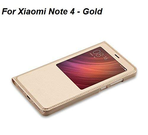 best service 57317 ee623 Lemcas S-View Premium Smart Leather Flip Cover For Xiaomi Redmi Note 4 -  Transparent With Gold