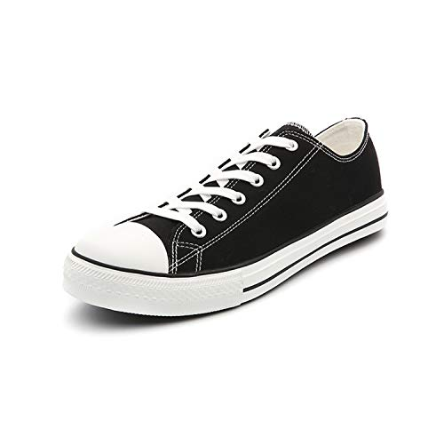 Men Classic Canvas Shoes Casual Low Top Lace Up Fashion Comfortable Walking Sneakers (8.5 M US, Black)