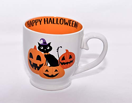 New 16oz Happy Halloween Black Cat & Jack-o-lantern Pumpkins Ceramic Coffee Mug Cup