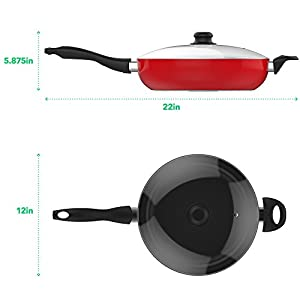 Vremi 12 Inch Nonstick Saute Pan Covered with Tempered Glass Lid - Big 5 Quart Capacity for Stir Fry Frying or as Saucepan - Non Stick Saute and Frying Pan - Deep Large and Ovenproof