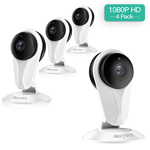 [FULL HD] 1080P Wireless IP Camera,Nextrend WiFi Security Camera with Motion Detection,Night Vision,Two-Way Audio,Cloud Storage,Home Security IP Camera for Office/Baby/Nanny/Pet Monitor-White,4 Pack ()