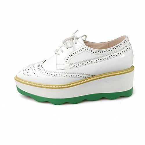 Latasa Kvinna Spetsig Tå Plattform Snörning Oxford Shoes Vita