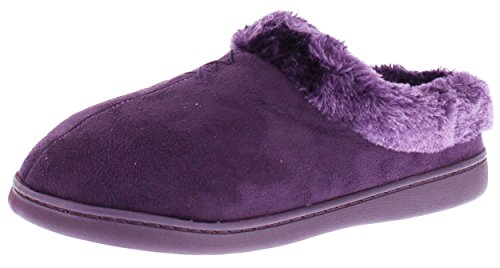 Jockey Womens Lena Microsuede Faux Fur Clog Slippers