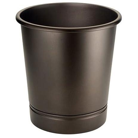 InterDesign York Bath, Wastebasket Trash Can For Bathroom, Kitchen, Office    Bronze