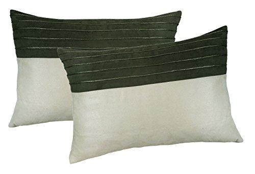 Metje 14x20 Faux Suede Corded Decorative Toss Pillows, 2-Pack, Medium, Cream, 2 Piece