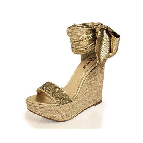 Foulard gold MTBALI Femme Espadrilles Modèle Sandales compensées 8XPwqYX