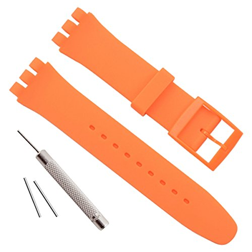 Replacement Waterproof Silicone Rubber Watch Strap Watch Band for Swatch (17mm 19mm 20mm) (17mm, - Orange Swatch