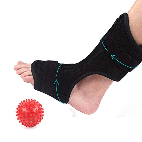 Plantar Fasciitis Dorsal Night Splint with Spiky Ball for Heel Pain Relief - Drop Foot Orthotic Brace for Relief Plantar Fasciitis Pain, Heel, Arch Foot Pain - Fits Left and Right Foot