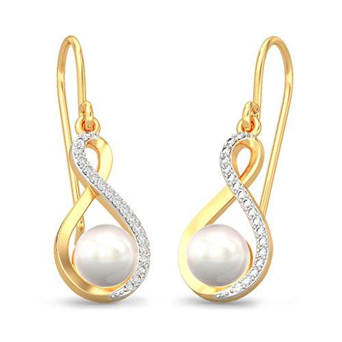 Or jaune 18K 0.11CT TW White-diamond (IJ | SI) et blanc perle Boucles d'oreilles créoles