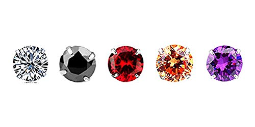 White Gold-Plated 925 Sterling Silver Round-Cut Cubic Zirconia Stud Earrings 3MM-8MM Set (Black+Champagne gold+Purple+Red+White (7 MM,5 Pairs/Same Size,Different (Purple Cubic Zirconia Stud)