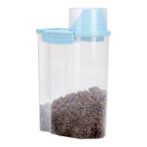 PISSION Pet Food Storage Container with Graduated Cup and Seal Buckles Food Dispenser for Dogs Cats(Blue)