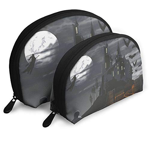 Portable Shell Makeup Storage Bags Cool Halloween Castle Pumpkin Lights Travel Waterproof Toiletry Organizer Clutch Pouch for Women]()