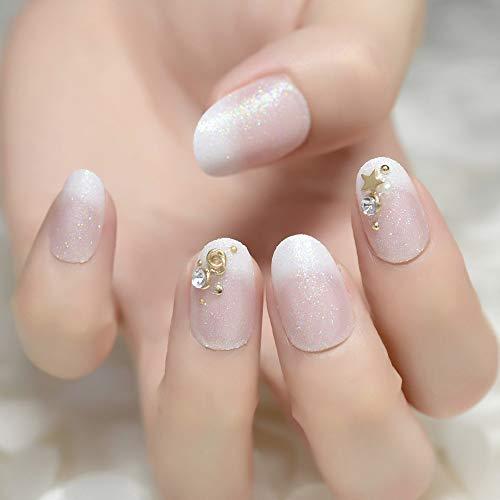 Nails Art Salon Acrylic French Nail Kit Petite Decoration 3D Fake Nails Glitter Design Rivet Decoration Fingernails Crush Hour Z941