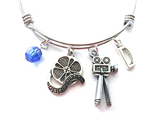 Movie making themed personalized bangle bracelet. Antique silver charms and a genuine Swarovski birthstone colored element.